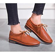 baratos Sapatos Femininos-Mulheres Sapatos Pele Napa / Pele Primavera / Outono Conforto Oxfords Salto Baixo Preto / Amêndoa / Castanho Claro