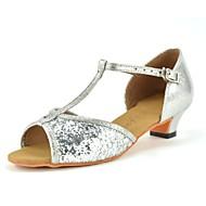 baratos Sapatilhas de Dança-Para Meninas Sapatos de Dança Latina Glitter / Paetês Salto Lantejoula Salto Robusto Personalizável Sapatos de Dança Dourado / Prateado /