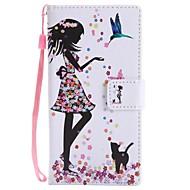 billiga Mobil cases & Skärmskydd-fodral Till Sony Xperia XZ1 Compact Xperia XZ1 Korthållare Plånbok med stativ Lucka Magnet Fodral Katt Sexig kvinna Hårt PU läder för