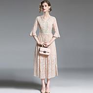 女性用 モダンシティ ストリートファッション Aライン スウィング ドレス - レース, ソリッド マキシ