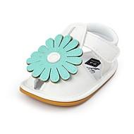 baratos Sapatos de Menina-Para Meninas Sapatos Courino Verão Conforto / Primeiros Passos / Sapatos de Berço Sandálias Flor / Velcro para Bebê Vermelho / Verde /