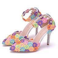 בגדי ריקוד נשים נעליים PU אביב / סתיו נוחות / חדשני נעלי חתונה עקב סטילטו בוהן מחודדת אבזם קשת