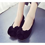baratos Sapatos Femininos-Mulheres Sapatos Flocagem Primavera / Outono Conforto / Bailarina Rasos Sem Salto Preto / Azul / Rosa claro
