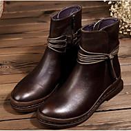 baratos 2018 Botas Femininas-Mulheres Sapatos Pele Napa / Pele Outono / Inverno Conforto / Coturnos Botas Salto Robusto Botas Curtas / Ankle Café / Vinho