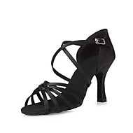 baratos Sapatilhas de Dança-Mulheres Sapatos de Dança Latina Seda Salto Cadarço de Borracha Salto Agulha Personalizável Sapatos de Dança Preto / Castanho Escuro / Nú
