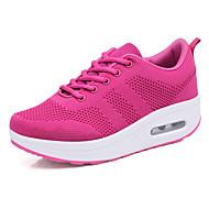 女性用 靴 ニット 夏 幼児用靴 スニーカー ウエッジヒール ラウンドトウ ブラック / パープル / フクシャ