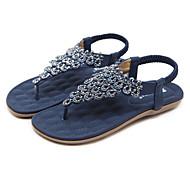 baratos Sapatos Femininos-Mulheres Sapatos Couro Ecológico Primavera / Verão Conforto / Inovador Sandálias Sem Salto Ponteira Pedrarias Azul / Amêndoa