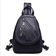baratos Mochilas-Mulheres Bolsas PU mochila Botões / Ziper Azul Escuro / Roxo / Vinho