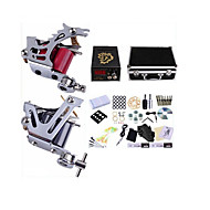 cheap Discount Tattoo Kits-Tattoo Machine Professional Tattoo Kit 2 steel machine liner & shader High Quality LCD power supply 2 x aluminum grip 50 Classic Daily