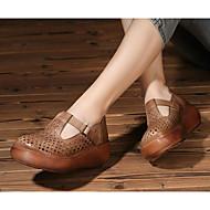 baratos Sapatos Femininos-Mulheres Sapatos Pele Primavera / Outono Conforto Sandálias Creepers Castanho Escuro / Khaki