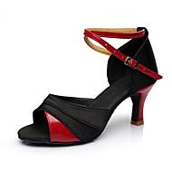 baratos Sapatilhas de Dança-Mulheres Sapatos de Dança Latina Cetim / Courino Sandália / Salto Recortes Salto Personalizado Personalizável Sapatos de Dança Vermelho