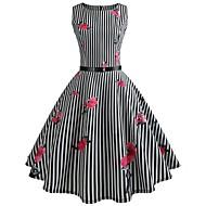 Žene Vintage Swing kroj Haljina - Print, Prugasti uzorak Cvjetni print Do koljena