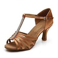 Žene Latinski plesovi Umjetna koža Sandale Vanjski Profesionalac Niska potpetica Crn Braon Moguće personalizirati