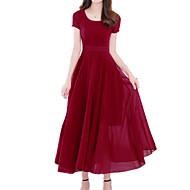 Damen Übergrössen Festtage Boho Anspruchsvoll Schlank Hülle Swing Kleid Solide Midi U-Ausschnitt Rot