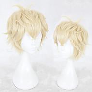 Syntetiske parykker Lige Blond Frisure i lag Syntetisk hår Natural Hairline Blond Paryk Herre Kort Lågløs Blond