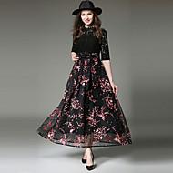 Mulheres Sofisticado Moda de Rua balanço Vestido - Renda Laço, Floral Longo