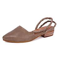 baratos Sapatos Femininos-Mulheres Sapatos Pele Primavera / Outono Conforto Sandálias Sem Salto Café / Khaki