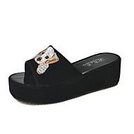 Mujer Zapatos PU Verano Talón Descubierto Zuecos y pantuflas Paseo Tacón Plano Puntera abierta Remache Blanco / Negro rhkLI5QzE