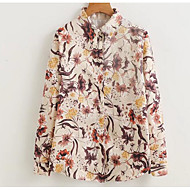 Dame-Blomstret Trykt mønster Basale Skjorte