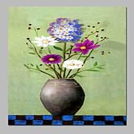 billiga Stilleben-Hang målad oljemålning HANDMÅLAD - Stilleben Blommig / Botanisk Traditionell Duk