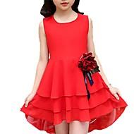 Djevojka je Poliester Jednobojni Cvjetni print Dnevno Proljeće Ljeto Kratkih rukava Haljina Slatko Crn Red Blushing Pink