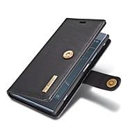 billiga Mobil cases & Skärmskydd-fodral Till Sony Xperia XZ1 Korthållare Plånbok med stativ Lucka Fodral Enfärgad Hårt Äkta Läder för Sony Xperia XZ1