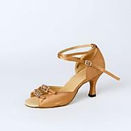 Mulheres Sapatos de Dança Latina Cetim Salto Cristal / Strass Salto Personalizado Personalizável Sapatos de Dança Preto / Marron / Nú