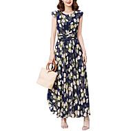 女性用 プラスサイズ お出かけ / 祝日 ストリートファッション スリム シフォン / スウィング ドレス - プリント, フラワー マキシ ハイウエスト