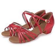baratos Sapatilhas de Dança-Para Meninas Sapatos de Dança Latina Courino Salto Cadarço de Borracha Salto Robusto Personalizável Sapatos de Dança Prateado / Vermelho