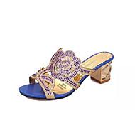 baratos Sapatos Femininos-Mulheres Sapatos Couro Ecológico Verão Conforto Sandálias Salto Robusto Dedo Aberto Pedrarias Preto / Azul / Azul Real / Festas & Noite