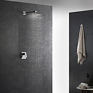 grifo de la ducha - grifos mezcladores de ducha de baño de cerámica cromados contemporáneos montados en la pared