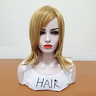 Syntetiske parykker Bølget Side del Syntetisk hår Varme resistent / syntetisk / Med Bangs Blond Paryk Dame Mellemlængde Naturlig paryk