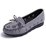 baratos Sapatos Femininos-Mulheres Sapatos Flocagem Verão Mocassim Mocassins e Slip-Ons Salto Baixo Ponta Redonda Laço Laranja / Cinzento / Vermelho