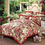 billige Blomstrete dynetrekk-Sengesett Blomstret Luksus Polyester / Bomull 100% bomull Mønstret 4 deler