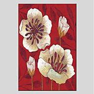 Недорогие Картины и постеры-Hang-роспись маслом Ручная роспись - Цветочные мотивы / ботанический Modern холст