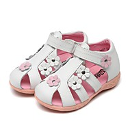 cheap Baby Shoes-Girls' Shoes Leather Spring & Fall Flower Girl Shoes / Light Soles Sandals Magic Tape for Toddler White / Peach