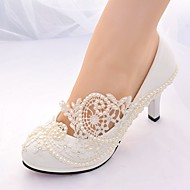 cheap -Women's Lace Spring & Summer Slingback / Basic Pump Wedding Shoes Stiletto Heel Round Toe Rhinestone / Imitation Pearl White