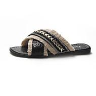 Mujer Zapatos EVA Primavera verano Confort Zapatillas y flip-flops Tacón Plano Dedo cuadrada Cuentas / Remache Amarillo / Rosa / Azul Claro AdR9O