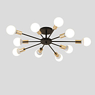 billige Bestelgere-10-hode vintage metall semi flush mount taklampe stue spisestue belysning malt finish
