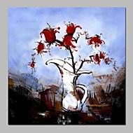 billiga Abstrakta målningar-Hang målad oljemålning HANDMÅLAD - Abstrakt Blommig / Botanisk Vintage Duk