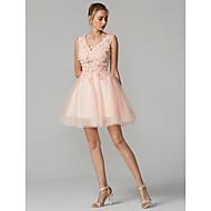 Haine Bal În V Mini / Scurt Dantelă Peste Tul Spate FRumos Bal Rochie cu Mărgele / Aplică de TS Couture®
