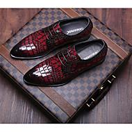 baratos Sapatos Masculinos-Homens Couro Primavera / Outono Conforto Mocassins e Slip-Ons Preto / Vinho