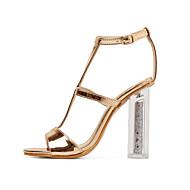 baratos Sapatos Femininos-Mulheres Sapatos Couro Envernizado Primavera Verão Plataforma Básica Sandálias Heel translúcido Dedo Aberto Lantejoulas Dourado