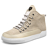 baratos Sapatos Masculinos-Homens Linho / Couro Ecológico Primavera / Outono Conforto Tênis Preto / Bege