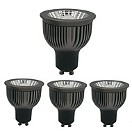 billige Innfelte LED-lys-zdm 4pcs dimbar gu10 gu5.3 e27 e14 4w cob 250-360lm svart fortykket aluminium reflektor led pærer ac220v / ac110v