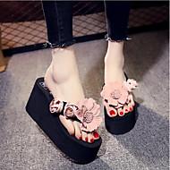 cheap -Women's Fabric Summer Comfort Slippers & Flip-Flops Wedge Heel Blue / Pink / Burgundy