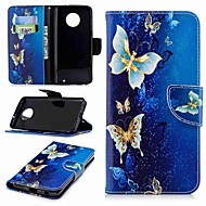 billiga Mobil cases & Skärmskydd-fodral Till Motorola Moto G6 Plus / G5 Plånbok / Korthållare / med stativ Fodral Fjäril Hårt PU läder för MOTO G6 / Moto G5s / Moto G5 Plus