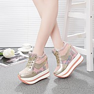 Dame Sko PU Sommer Komfort Sneakers Flade hæle Sort / Sølv / Lys pink