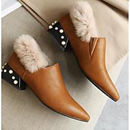baratos Sapatos Femininos-Mulheres Sapatos Couro Inverno Conforto / Forro de fluff Mocassins e Slip-Ons Salto de bloco Preto / Amarelo / Verde Tropa