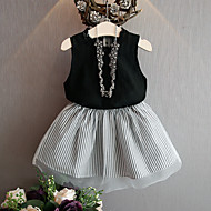 Kids Girls' Solid Colored / Striped Sleeveless Clothing Set